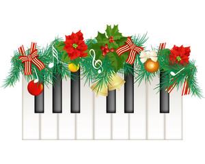 Pianoforte con decorazione natalizia