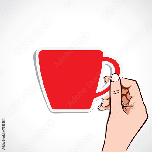 red coffee cup in hand stock vector