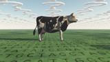 Cow and questions clouds GMO poster