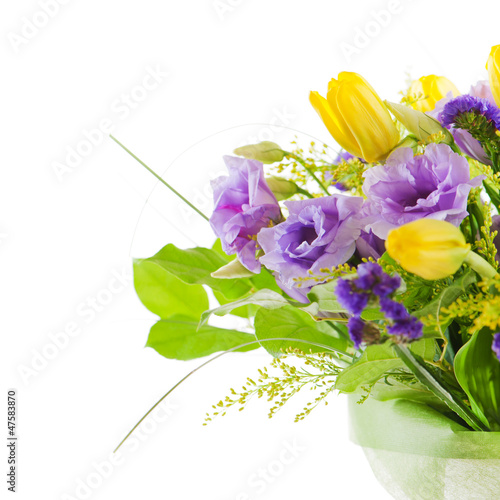 fragment of colorful bouquet of roses, tulips and freesia isolat