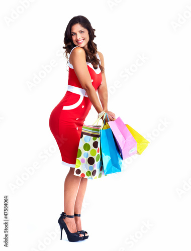 Beautiful woman with a shopping bag.