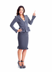Business woman showing a copyspace.