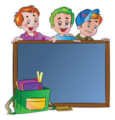 Three Boys Standing Behind a Chalk Board, illustration