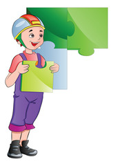 Boy Completing a Wall Puzzle, illustration
