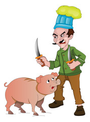 Chef with Knives to Cut Up a Pig, illustration
