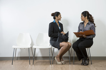Interview applicant being asked a question