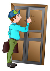 Salesman Knocking on a Door, illustration