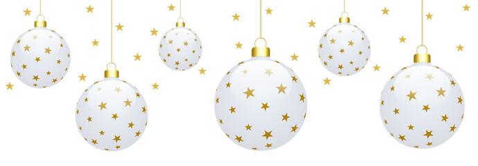 Bannière boules de Noël avec fond étoilé