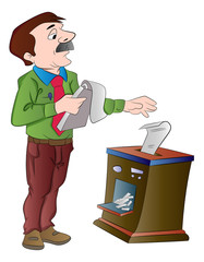 Man Shredding Documents, illustration