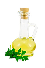 Vegetable oil in a carafe with parsley