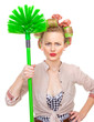 Funny housewife / girl with broom, isolated on white