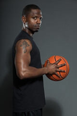 Black american basketball player. Studio shot.