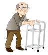 Old Man Using a Walker, illustration
