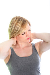Woman with neck pain stretching her muscles