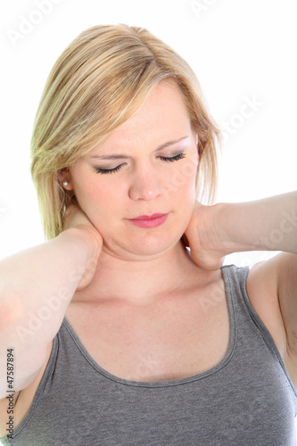 Woman with a crick in her neck