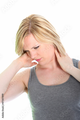 Young woman with neck ache