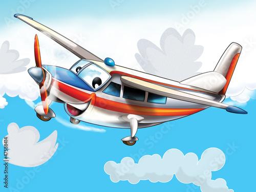 Zdjęcia na płótnie, fototapety na wymiar, obrazy na ścianę : Little happy, cartoon plane