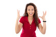 Glückliche Frau - Lebensfreude in Rot