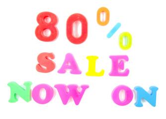 80% sale now on written in fridge magnets
