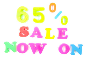 65% sale now on written in fridge magnets