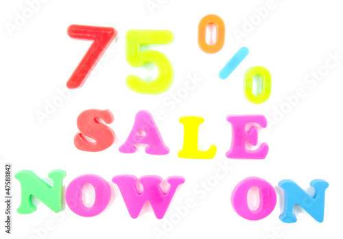 75% sale now on written in fridge magnets