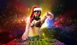 Female dj in christmas wear