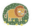 Hand drawn grunge illustration of cute roaring lion