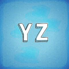 Doodle Style Vector Hand Drawn Alphabet Y-Z