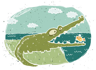 Hand drawn grunge illustration of cute crocodile