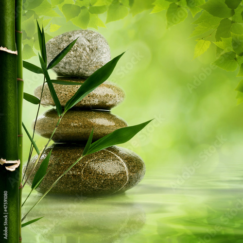 Poster Bamboe Natural zen backgrounds with bamboo leaves and pebble for your d