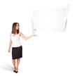 young woman presenting abstract origami copy space