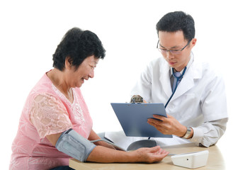 asian senior female medical checkup