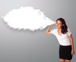 Pretty woman gesturing with abstract cloud copy space