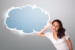 beautifulwoman gesturing with abstract cloud copy space