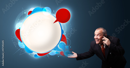 crazy businessman holding a phone and presenting abstract modern