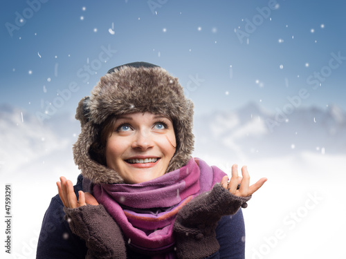 Beautiful Girl Likes Snow