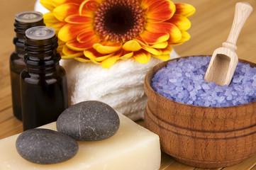 Natural body care set: organic soap, sea salt, aroma oils