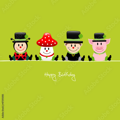 "Ladybeetle, Fly Agaric, Chimney Sweep & Pig ""Happy Birthday"""