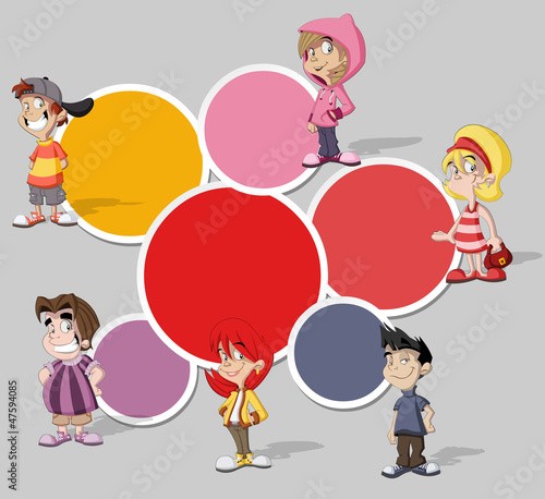 template with a group of six cartoon children
