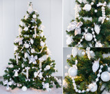 Green and white collage with decorated Christmas tree