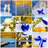 Wedding collage in blue and yellow colors