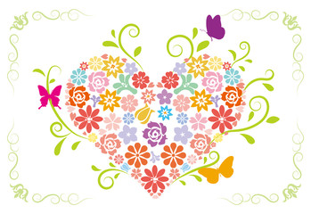 Spring-flower heart-Colorful-