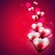 Flying hearts on red background