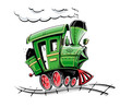 green retro cartoon locomotive vector illustration isolated on