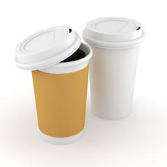 3d coffee paper cup on white background