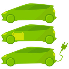 Set of three ecological, green cars