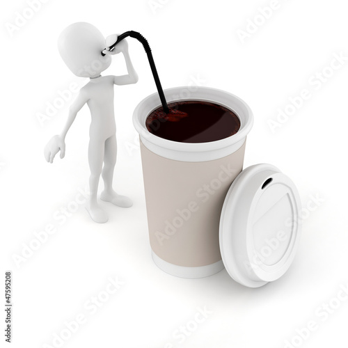 3d man drinking a hot coffee from a paper cup