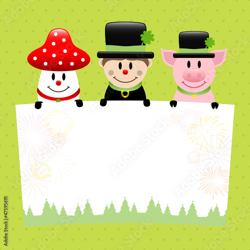 Fly Agaric, Chimney Sweep & Pig Label Dots Retro
