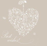 Vintage wedding floral heart