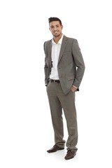 Handsome businessman in grey suit